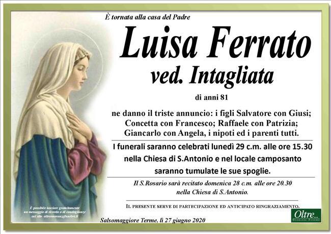 Necrologio di Luisa Ferrato ved. Intagliata