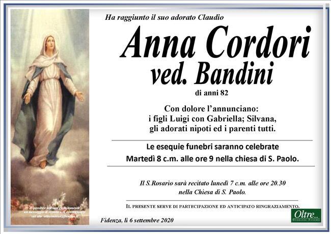 Necrologio di Anna Cordori ved. Bandini