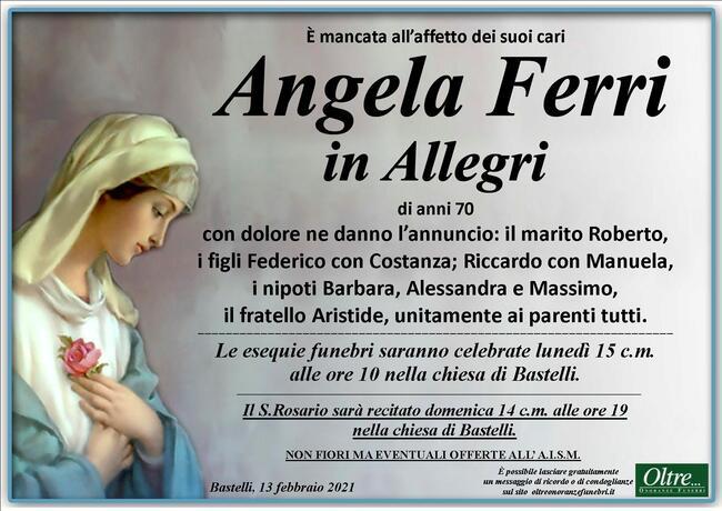 Necrologio di Angela Ferri in Allegri