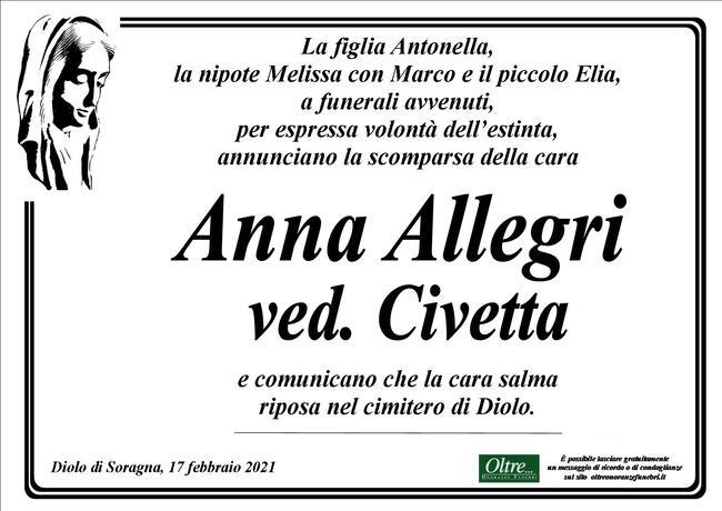 Necrologio di Anna Allegri ved. Civetta