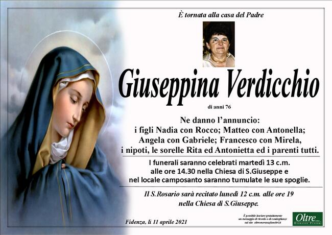 Necrologio di Giuseppina Verdicchio