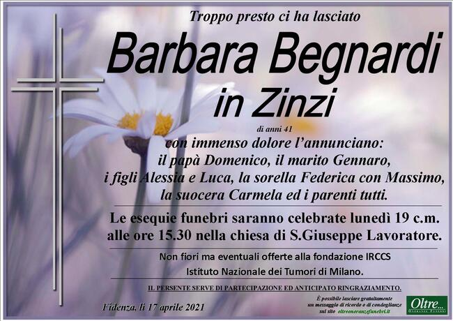 Necrologio di Barbara Begnardi in Zinzi