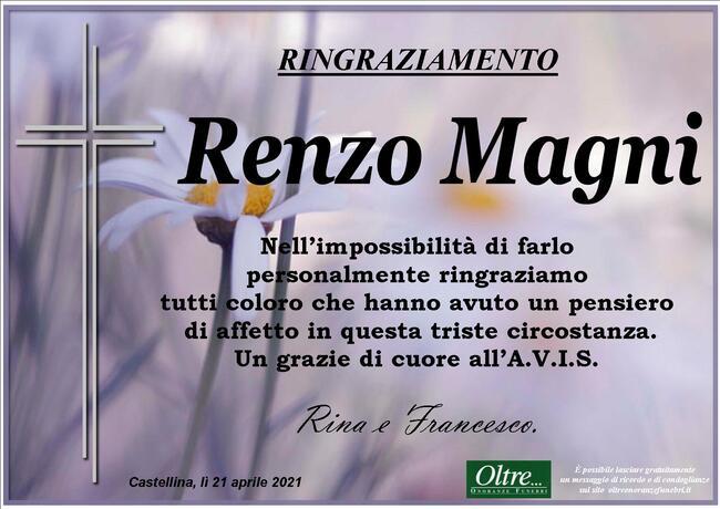 Ringraziamenti per Renzo Magni