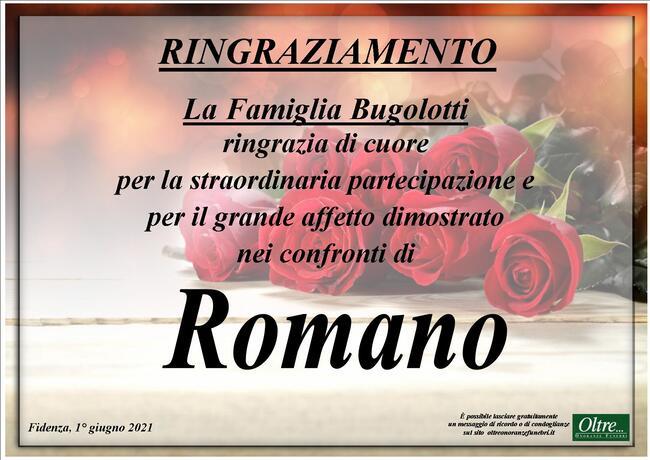 Ringraziamenti per Romano Bugolotti