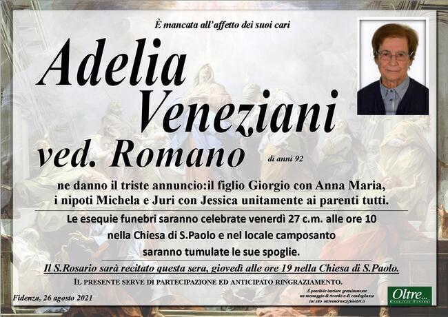 Necrologio di Adelia Veneziani ved. Romano