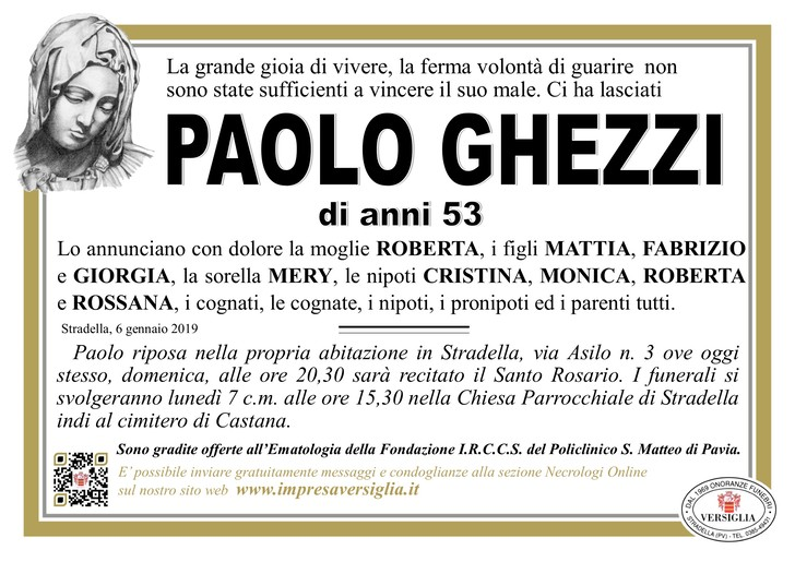 Necrologio di Paolo Ghezzi