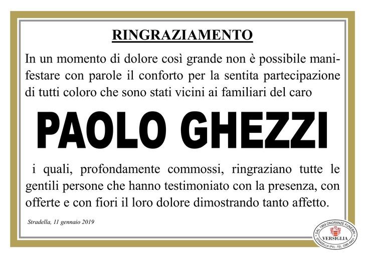 Ringraziamenti per Paolo Ghezzi