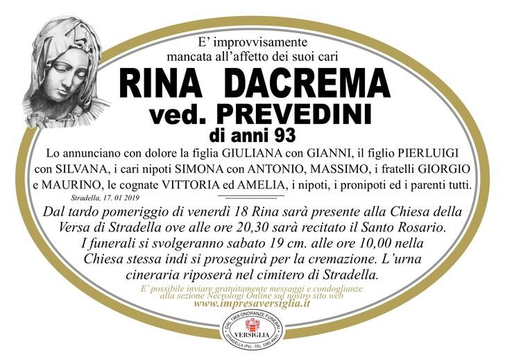 Necrologio di Rina Dacrema