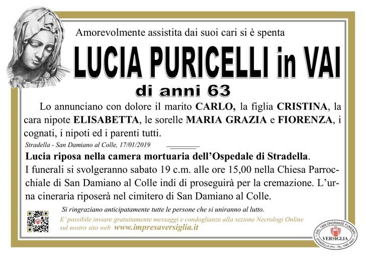 Necrologio di Lucia Puricelli