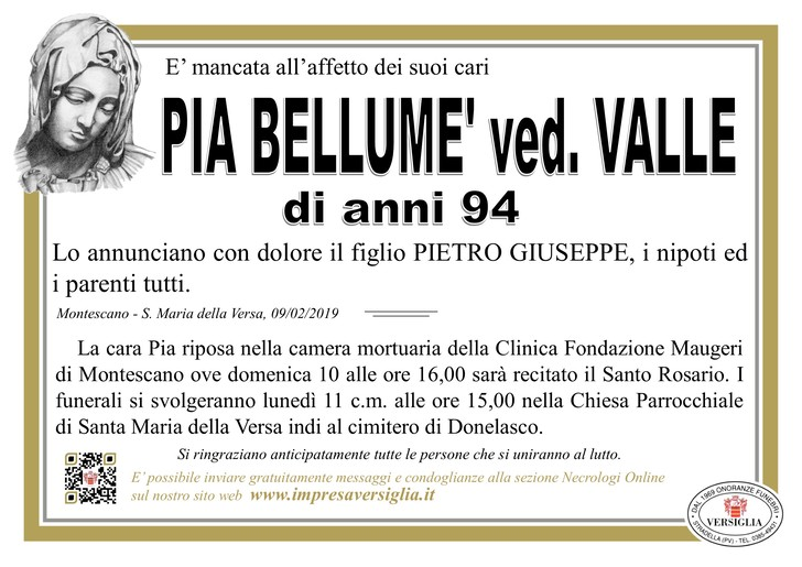 Necrologio di BELLUME' PIA
