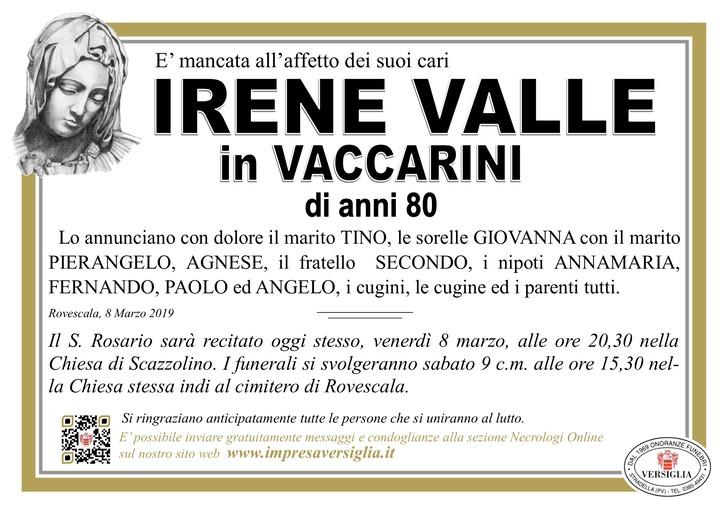 Necrologio di Irene Valle