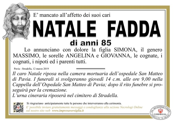 Necrologio di Natale Fadda