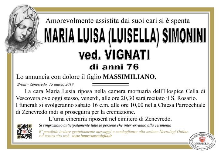 Necrologio di Maria Luisa Simonini