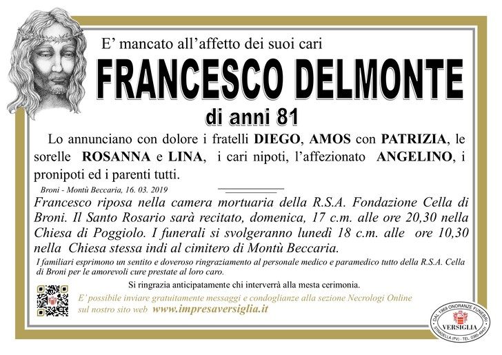 Necrologio di Delmonte Francesco