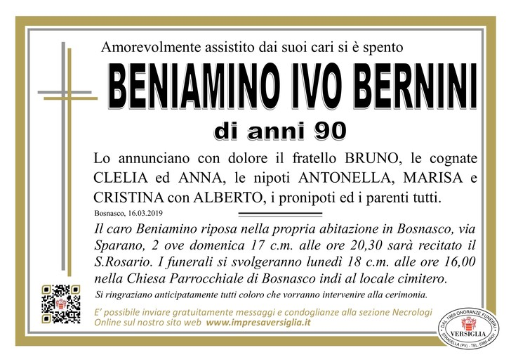 Necrologio di Beniamino Ivo Bernini