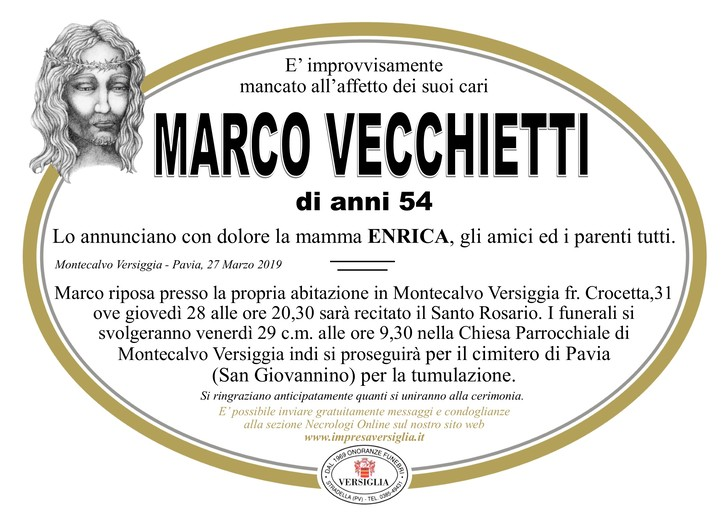 Necrologio di Vecchietti Marco