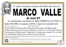 Necrologio di VALLE MARCO