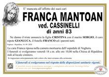 Necrologio di MANTOAN FRANCA