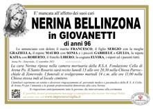 Necrologio di BELLINZONA NERINA