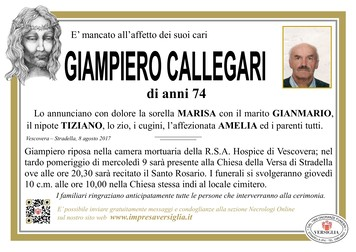 Necrologio di CALLEGARI GIAMPIERO
