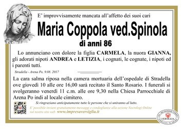 Necrologio di COPPOLA MARIA