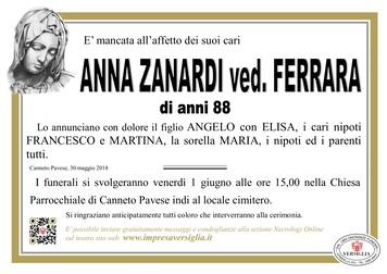 Necrologio di Anna Zanardi