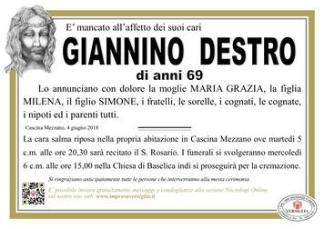 Necrologio di Giannino Destro