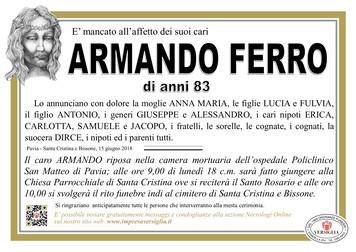 Necrologio di Armando Ferro