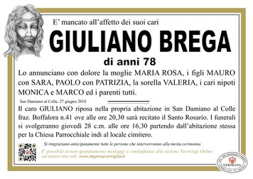 Necrologio di Giuliano Brega
