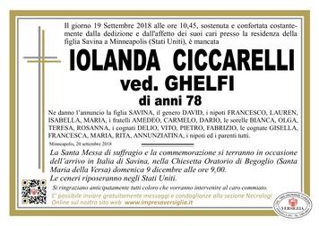 Necrologio di Iolanda Ciccarelli