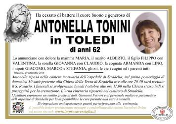 Necrologio di TONINI ANTONELLA