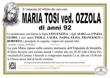 Necrologio di TOSI MARIA