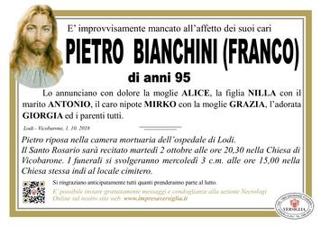 Necrologio di Pietro (Franco) Bianchini