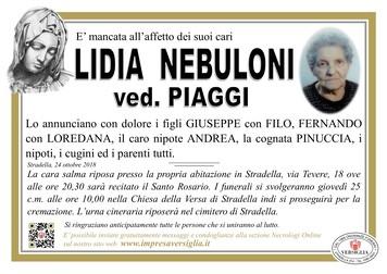 Necrologio di Lidia Nebuloni