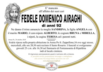 Necrologio di AIRAGHI FEDELE DOMENICO