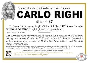 Necrologio di RIGHI CARLO