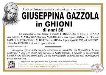 Necrologio di Gazzola Giuseppina