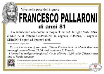 Necrologio di Pallaroni Francesco