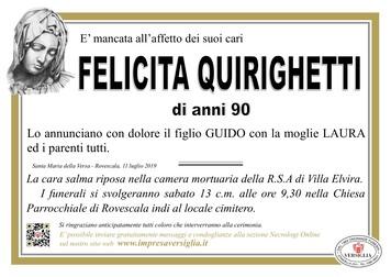 Necrologio di Felicita Quirighetti