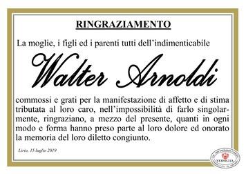 Ringraziamenti per Walter Arnoldi