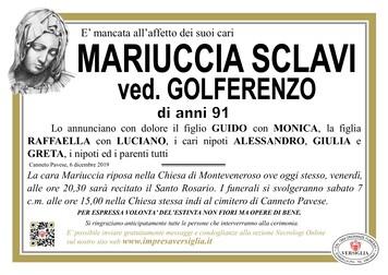 Necrologio di Mariuccia Sclavi