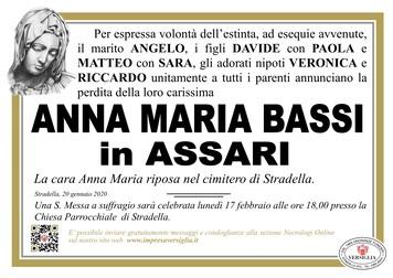 Necrologio di Bassi Anna Maria