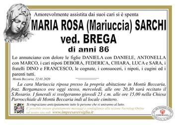 Necrologio di Sarchi Maria Rosa (Mariuccia)