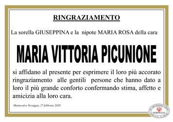 Ringraziamenti per Picunione Maria Vittoria