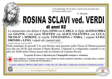 Necrologio di Sclavi Rosina