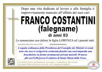 Necrologio di Costantini Franco