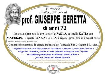 Necrologio di prof Giuseppe Beretta