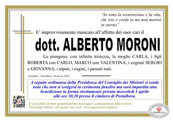 Necrologio di Moroni dott. Alberto