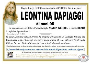 Necrologio di DAPIAGGI LEONTINA