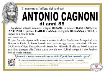 Necrologio di CAGNONI ANTONIO